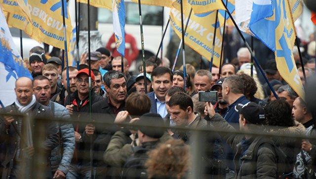 Бывший президент Грузии, экс-губернатор Одесской области Михаил Саакашвили на акции в поддержку политической реформы в Киеве. 17 октября 2017