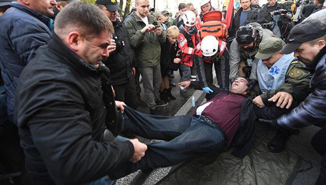 Пострадавший во время митинга в Киеве