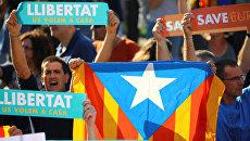 Митинг в поддержку задержанных националистов в Барселоне, Испания. 21 октября 2017