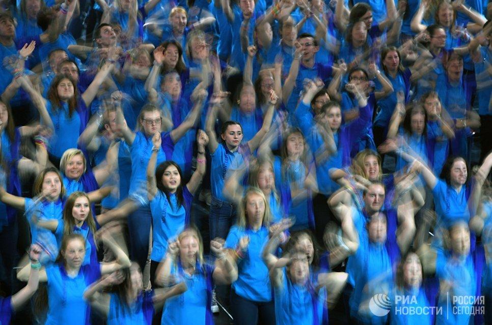 Участники церемонии закрытия XIX Всемирного фестиваля молодёжи и студентов в Сочи. 21 октября 2017
