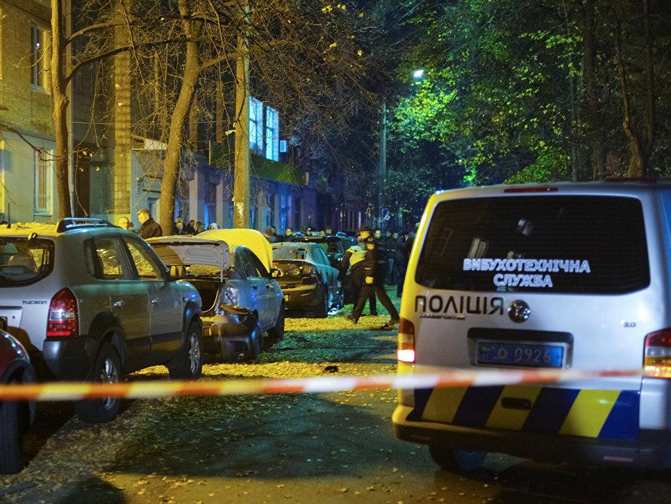 На месте покушения на депутата Верховной рады Игоря Мосийчука в Киеве, Украина