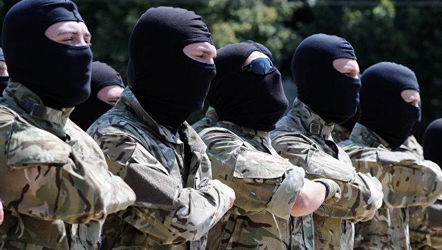 Бойцы добровольческого батальона принимают присягу на верность Украине в Киеве
