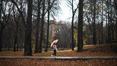 Женщина идет по дороге в парке-усадьбе Михалково во время дождя. Архивное фото