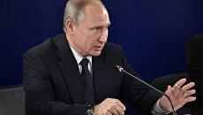 Президент РФ Владимир Путин во время совещания по вопросам выявления, поддержки и профессиональной подготовки талантливой молодежи в сфере искусства. 17 ноября 2017