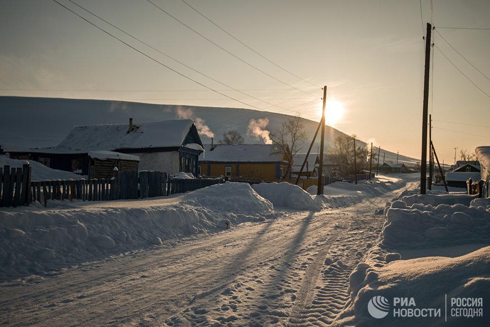 Закат в селе Татарский Саракташ Оренбургской области.