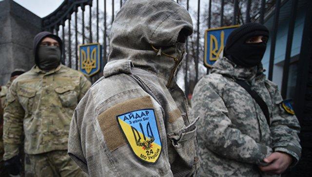 Митинг батальона Айдар у Минобороны Украины