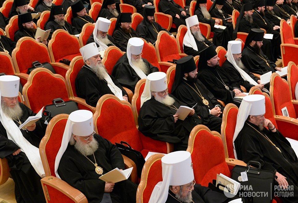 Православные архиереи на открытии Архиерейского собора Русской православной церкви. 29 ноября 2017