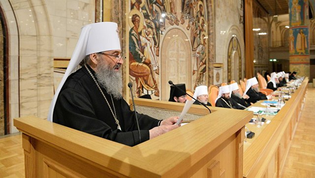 Митрополит Киевский и всея Украины Онуфрий на заседании Архиерейского собора РПЦ