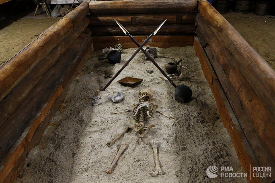 Экспозиция музея бронзового века, открытого общественным деятелем Владимиром Столяровым в селе Толбухино Ярославской области.