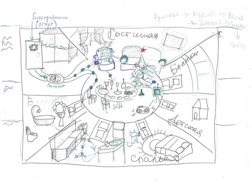 Набросок схемы игрового поля с прорисовкой предметов