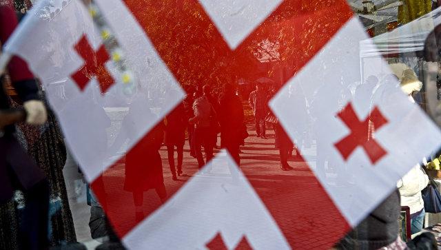 Флаг Грузии во время праздника Тбилисоба в Москве. Архивное фото