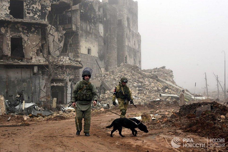 Военнослужащие во время разминирования исторической цитадели древней крепости Алеппо