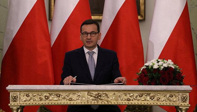 Назначенный президентом Польши премьер-министр Польши Матеуш Моравецкий во время присяги. 11 декабря 2017