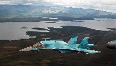 Экипажи бомбардировщиков Су-34 вернулись на аэродром постоянного базирования в Хабаровском крае. 14 декабря 2017