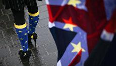 Участница протеста против Brexit у парламента Лондона