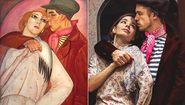Слева: картина Бориса Григорьева Пара (Жиган и проститутка).1917. Справа: Косплей-пародия Никиты Литке