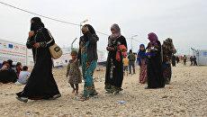 Женщины с детьми в лагере беженцев под Мосулом. Архивное фото