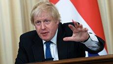 Министр иностранных дел Великобритании Борис Джонсон во время пресс-конференции. 22 декабря 2017