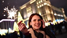 Во время празднования Нового года в Москве. 31 декабря 2017