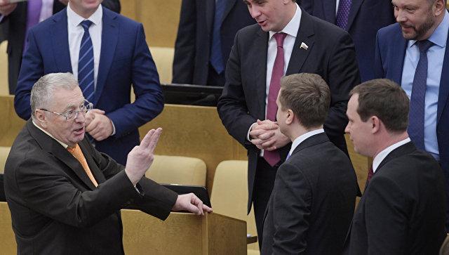 Лидер ЛДПР Владимир Жириновский на пленарном заседании Госдумы РФ. 12 января 2018