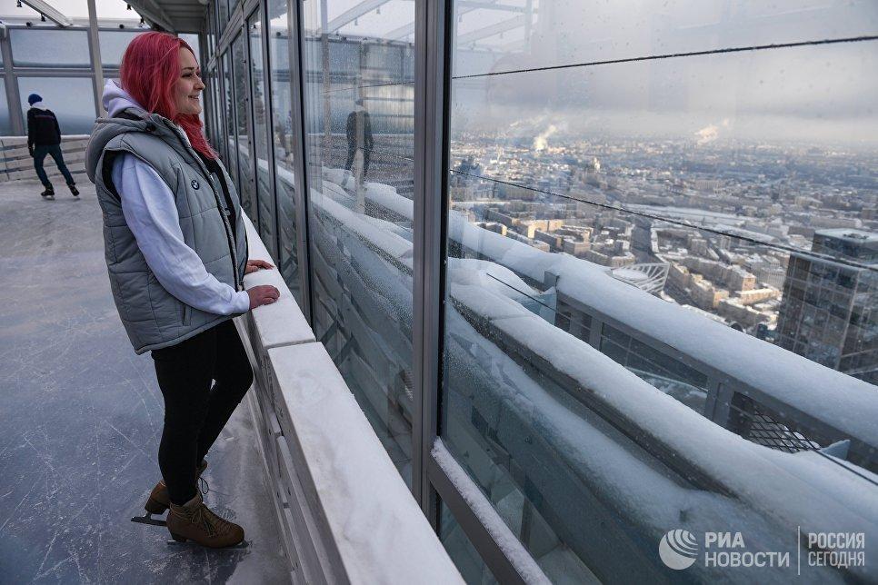 Открытие катка на крыше башни Око ММДЦ Москва-Сити