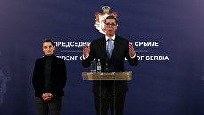 Президент Сербии Александр Вучич во время пресс-конференции после смерти косовского сербского политика Оливера Ивановича. 16 января 2018