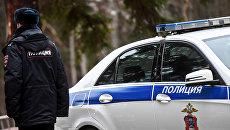 Сотрудник полиции возле служебного автомобиля. Архивное фото