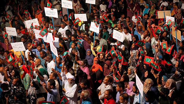 Митинг сторонников оппозиции в Мале, Мальдивские Острова