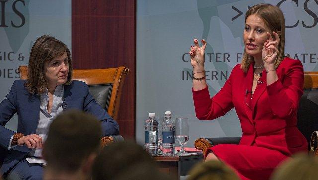 Кандидат в президенты РФ от партии Гражданская инициатива Ксения Собчак во время своего выступления в Центре стратегических и международных исследований в Вашингтоне. 6 февраля 2018
