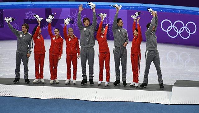 Олимпиада 2018. Фигурное катание. Команды. Цветочная церемония