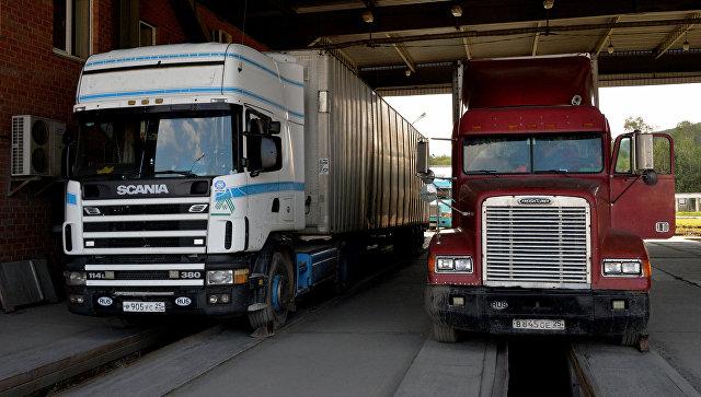 Грузовые автомобили во время таможенного осмотра на многостороннем автомобильном пункте пропуска