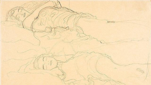 Работа Густава Климта Двое лежащих. Архивное фото