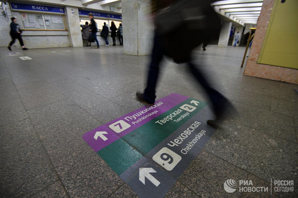 Новая напольная навигация в Московском метрополитене. Архивное фото