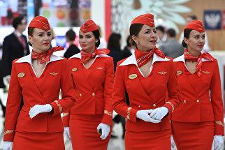 Стюардессы авиакомпании Аэрофлот на Российском инвестиционном форуме (РИФ-2018) в Сочи