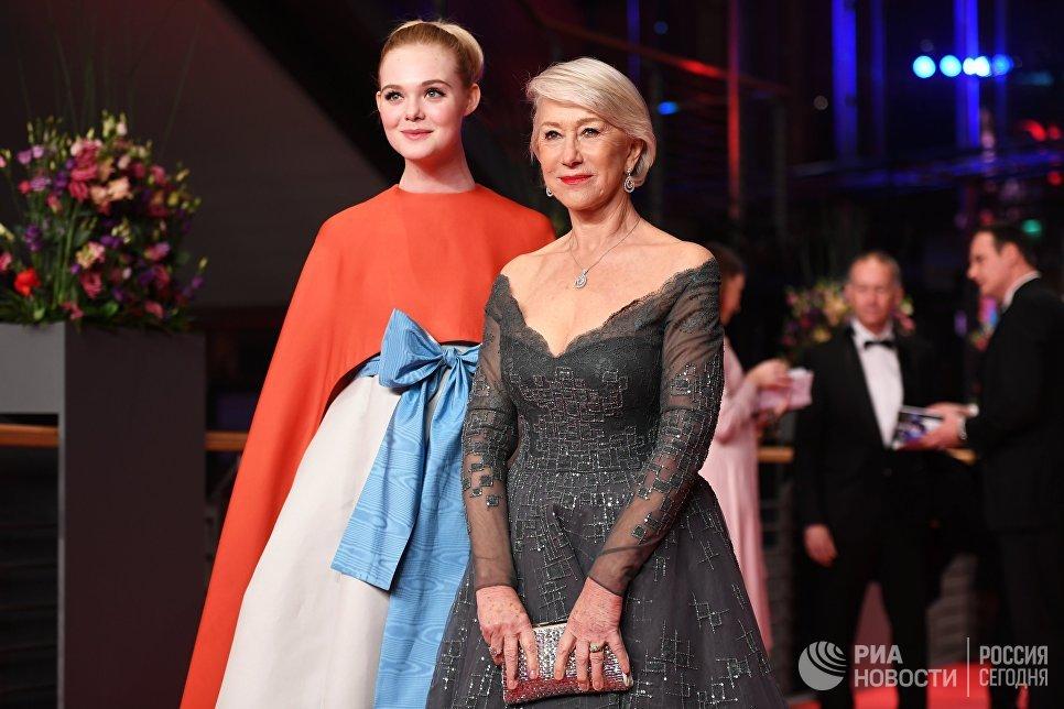 Актрисы Эль Фаннинг и Хелен Миррен на церемонии открытия 68-го Берлинского международного кинофестиваля Берлинале - 2018