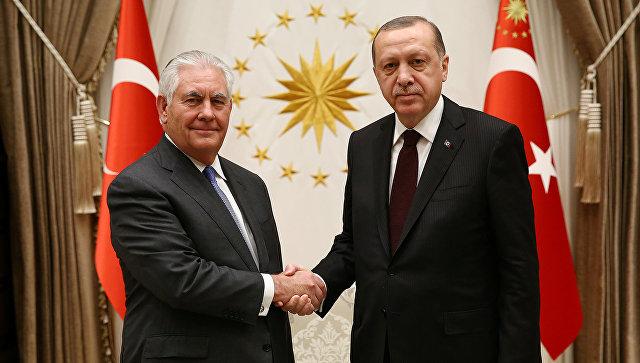 Встреча президента Турции Тайипа Эрдоганом с госсекретарем США Рексом Тиллерсоном в Анкаре