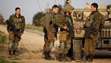 Израильские солдаты рядом с границей южной части сектора Газа, Израиль. 17 февраля 2018