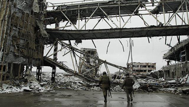 Ополченцы ДНР на территории Донецкого аэропорта. Архив