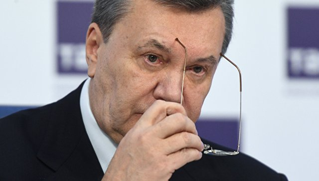 Бывший президент Украины Виктор Янукович на пресс-конференции в Москве. 2 марта 2018