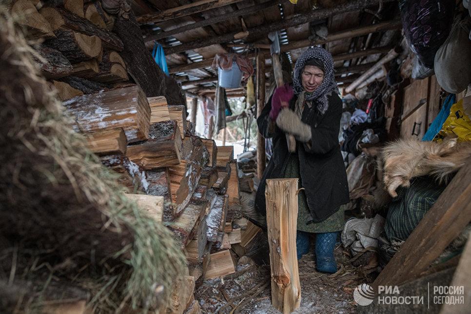 Агафья Карповна колет дрова.