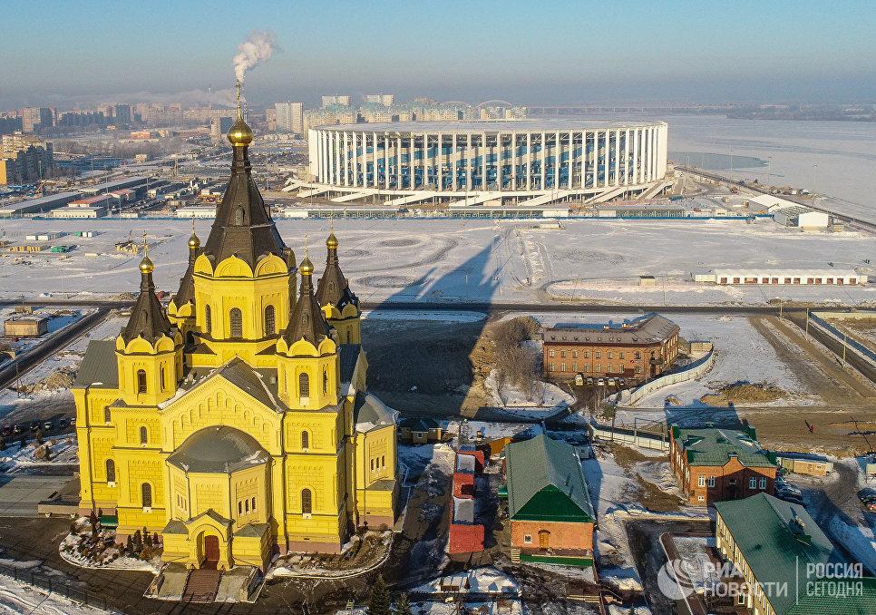 Вид на Александро-Невский Новоярмарочный собор и стадион Нижний Новгород