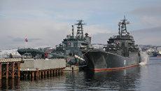 Большой десантный корабль Александр Отраковский и большой десантный корабль Кондопога во время прибытия в порт города Североморск. 5 марта 2018