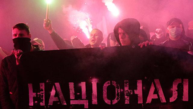 Марш во Львове, приуроченный к годовщине создания Украинской повстанческой армии (УПА, экстремистская организация, запрещена в России) и Дню защитника Украины