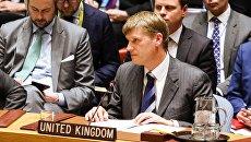 Исполняющий обязанности постоянного представителя Великобритании при ООН Джонатан Аллен на заседании совета безопасности ООН в Нью-Йорке. 14 марта 2018