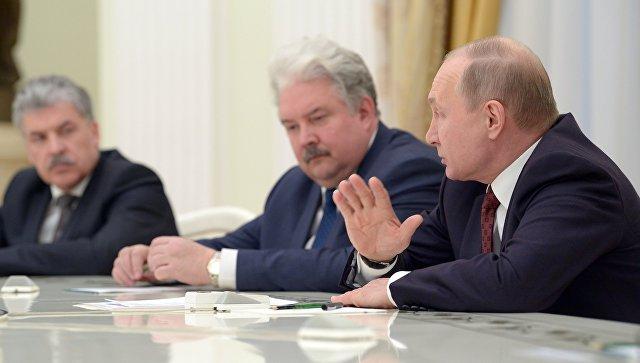 Президент РФ Владимир Путин на встрече с кандидатами на должность президента РФ. 19 марта 2018
