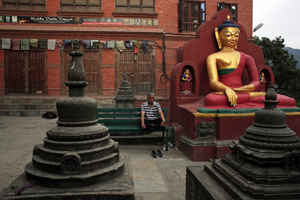 Буддийский храмовый центр Сваямбунатх на окраине Катманду в Непале