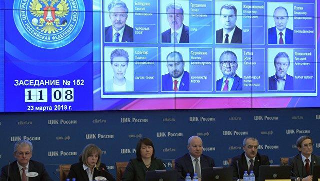 Оглашение итогов голосования на выборах президента РФ на заседании ЦИК. 23 марта 2018