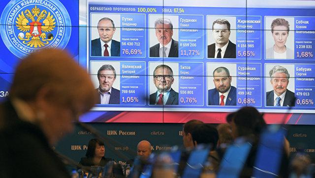 Оглашение итогов голосования на выборах президента РФ. Архивное фото