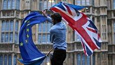 Участник протеста против Brexit возле здания парламента в Лондоне. Архивное фото