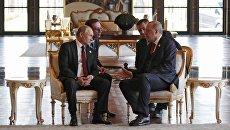 Президент РФ Владимир Путин и президент Турецкой Республики Реджеп Тайип Эрдоган во время беседы в президентском дворце в Анкаре. 3 апреля 2018